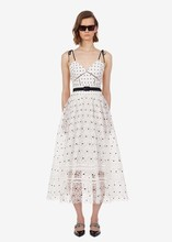 Women sexy lace slip dress New arrival summer polka dot high-waist belt A402