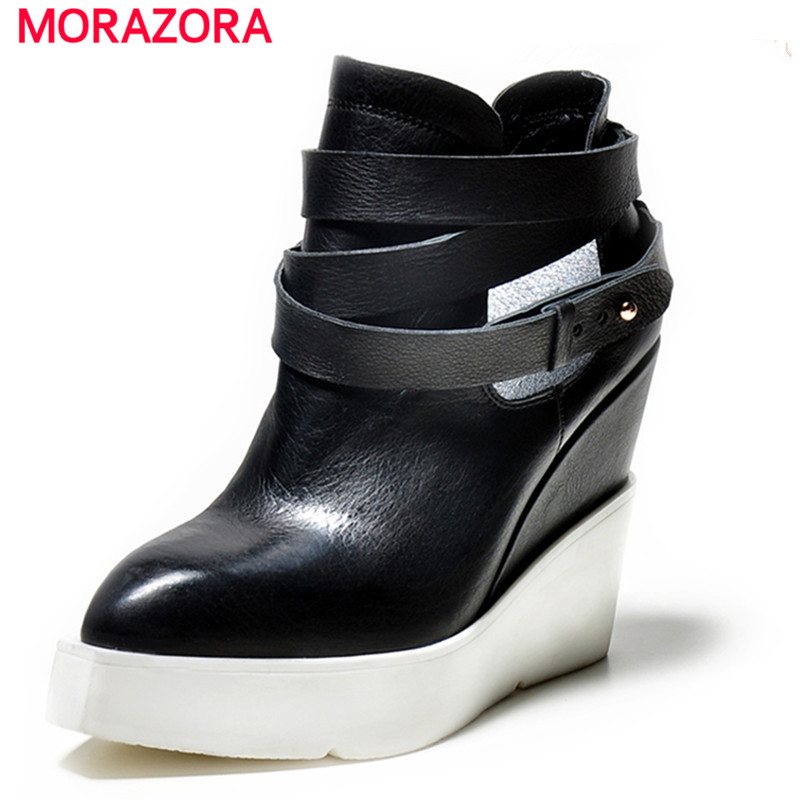 MORAZORA Genuine leather wedges boots for women pointed toe platform ankle boots buckle autumn high heels