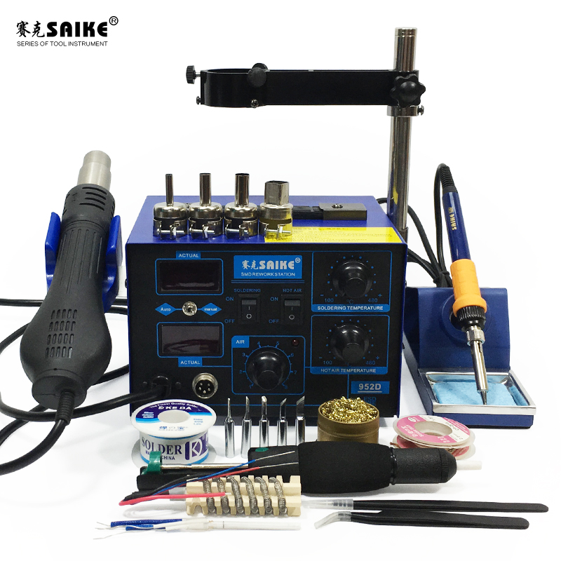 SAIKE 952D 2 in 1 SMD Rework Soldering Station Hot Air Gun Solder Iron Desoldering 220V 110V