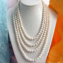 цены Handmade Pearl Jewellery,100inches 9-10mm Round White Freshwater Cultured Pearl Necklace,Fashion Women Gift Long Jewelry