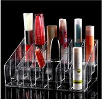 Womens Clear Makeup Organizer Cosmetic Jewelry Display Rack Cabinet Show Holder 24 Grids Plastic Acry Storage Box Drawers