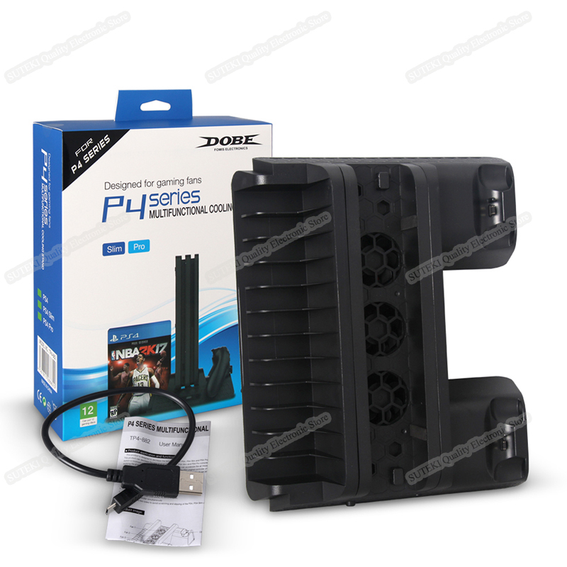5V Vertical Stand Dual USB Charger Cooling Dock For PS4 Slim PS4 Pro Console ...