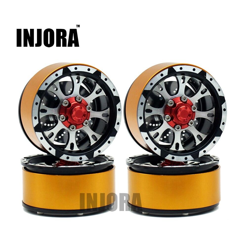 INJORA 4 unids de aleación de Metal 1,9 pulgadas Beadlock rueda llanta para RC Rock Crawler Axial SCX10 TAMIYA CC01 D90 D110 TF2