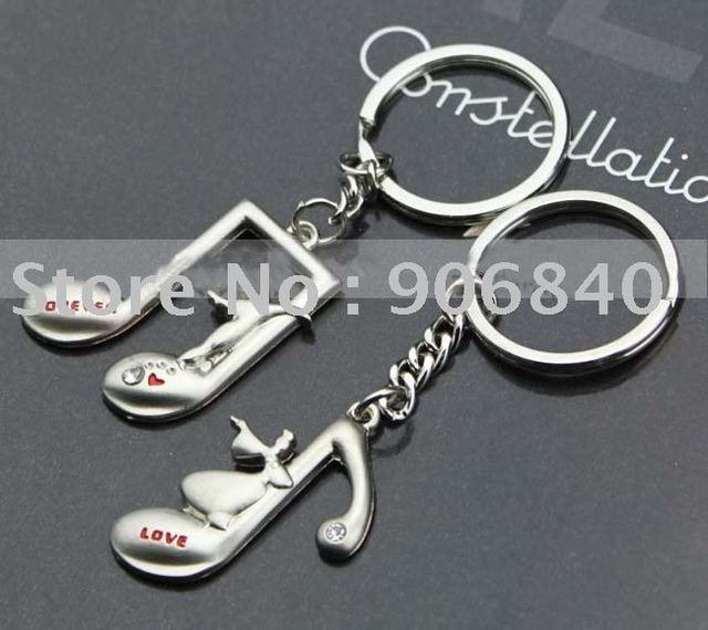 Hot Selling Lovely Music Note Lover Metal Keyring Key Chain Valentine's Gift 60pairs/Lot Free Shipping