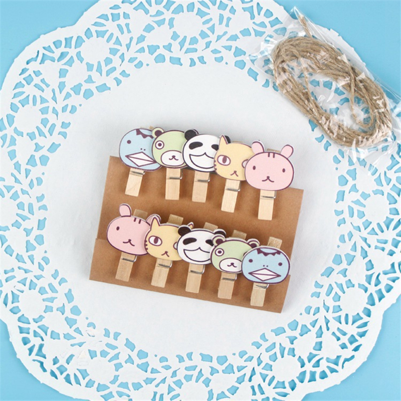 Clips Office & School Supplies Collection Here 10 Pcs/pack Cartoon Animals Cat Panda Wooden Clips Diy Paper Photo Postcard Craft Decorative Mini Clip With Hemp Rope Home Decor