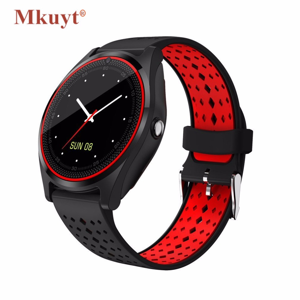 MKUYT V9 Bluetooth Smart Watch Sweatproof Phone with Camera TF SIM Card Slot Band Replaceable for Android and iPhone Smartphones