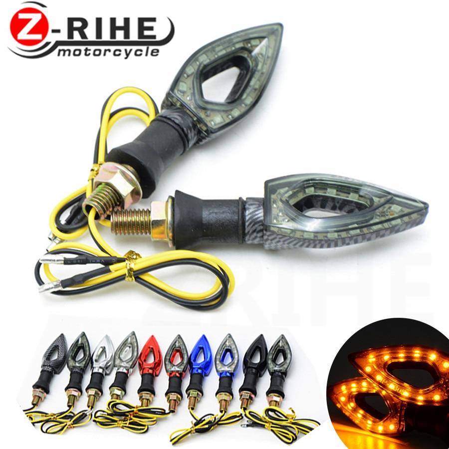 For Ktm Bmw Racer 1 Pair Motorcycle Turn Signal Indicator Light Universal Motorbike Flasher 12 LED Waterproof Amber Light Lamp