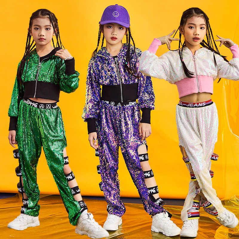 a39bdd30a New Fashion Girls Jazz Hip Hop Dance Costumes Children Sequin Performance  Clothing Kids Street Dance Outfit