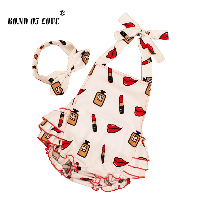 2018 New Cotton Ruffled Baby Girl Rompers Headband Set Red lips pattern Sleeveless Toddler Girl Photography Props Clothes YC045