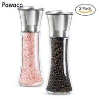Pawaca 2pcs/set Salt And Pepper Grinder Pepper Mill Manual Salt Grinder Mill Stainless Steel Pepper Grinder Kitchen Tools
