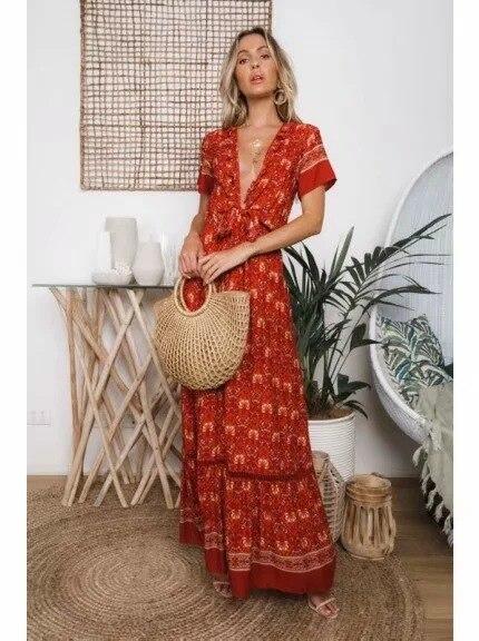 2019 Coton Maxi À Style Printemps Lacets De Robe Rouge Pour Nouveau Mince Vacances Sexy Femmes Impression Mode Vintage pqpwr8C