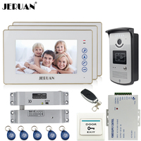 JERUAN Home 7 inch touch key video door phone intercom system kit 3 white monitor 700TVL RFID Access Night Vision Camera 1V3|video door phone|door phone intercom system|intercom system -
