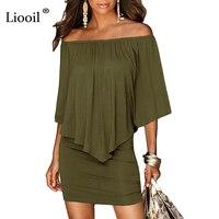 육군 녹색 슬래시 목 여성 미니 드레스 2018 여름 스타일 오프 어깨 섹시한 드레스 Vestidos 블랙 화이트 비치 캐주얼 드레