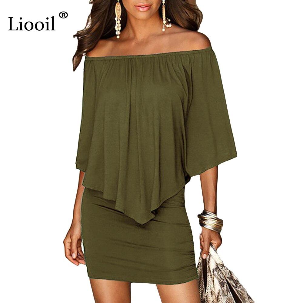 Esercito verde Slash Collo Delle Donne Mini Vestito 2018 di Stile di Estate Al Largo Della Spalla Vestiti Sexy Abiti Nero Bianco Spiaggia Casual Vestito