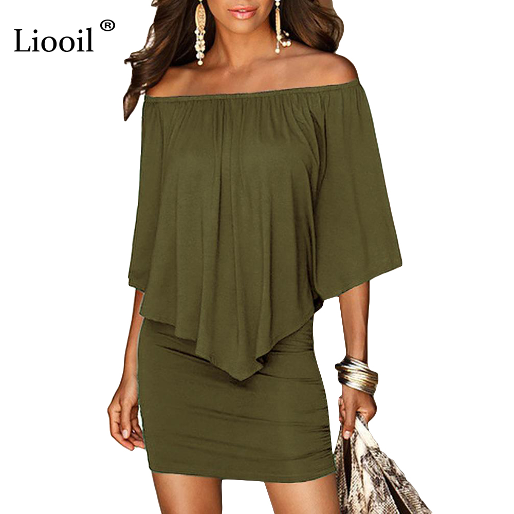 Mini vestido verde militar con cuello barco para mujer 2018 estilo veraniego sin hombros Vestidos Sexy Vestidos negro blanco playa Casual