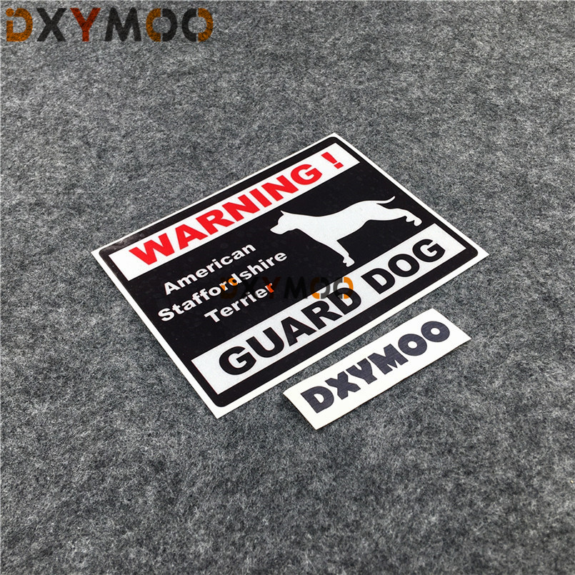 Reflective Car Window Stickers WARNING American Staffordshire Terrier GUARD DOG Inside Home Decoration Sticker Decals 15x11.5cm the guard dog