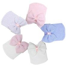 Детская шапка для младенцев, детская теплая шапка, полосатые шапки, Мягкие Шапки для больниц, вязаные шапочки с бантом для новорожденных 0-3 месяцев