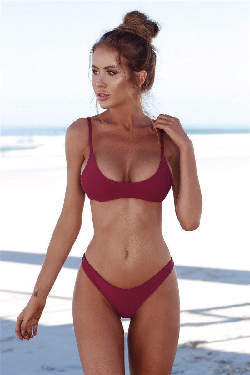 6bf5587998724 Sexy Swimsuit 2018 Bikini Set Summer Solid Color Push Up Swimwear Women  Brazilian Bikini Top Beachwear Bathing Suit Monokini