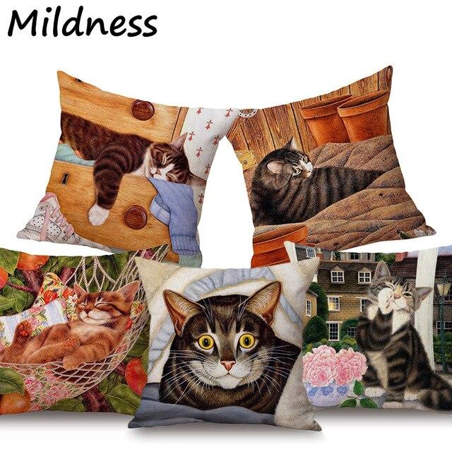 Animale Cute Cat Stampato In Cotone E Lino Coperture per Cuscini Ufficio Decorat
