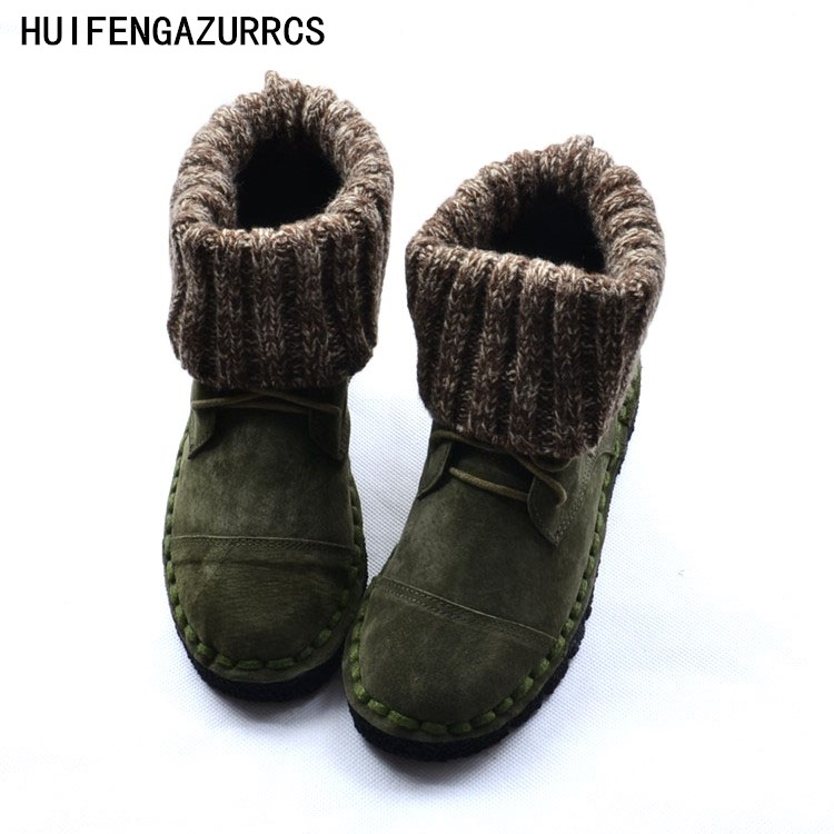 HUIFENGAZURRCS New real leather boots comfortable soft soles women s singles boots sweaters handmade schools wind