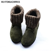 HUIFENGAZURRCS New real leather boots, comfortable soft soles women's singles boots, sweaters handmade schools wind Martin boots