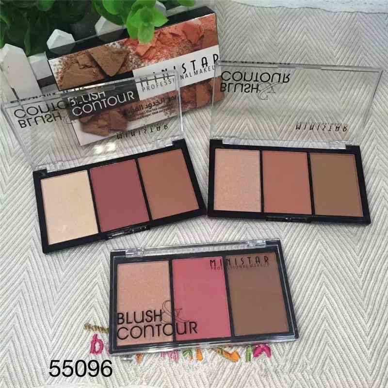 Ministar Professional Contouring Cosmetics Face Brighten Highlighter Glow Mineral Powder Bronzer Blush Contour Makeup