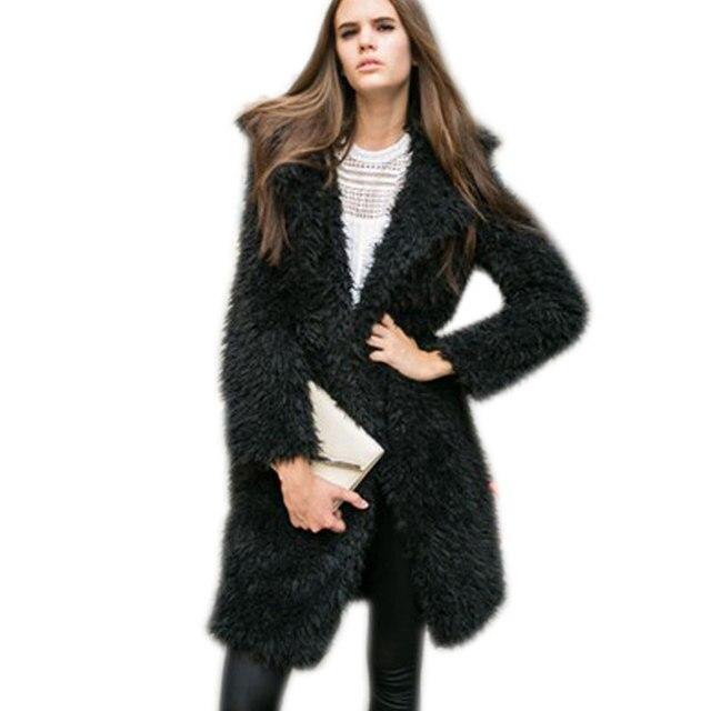 À la mode En Fausse Fourrure Manteau Femmes Long Chaud De Laine Manteau  Femme Chaud Shaggy de5af150cc2