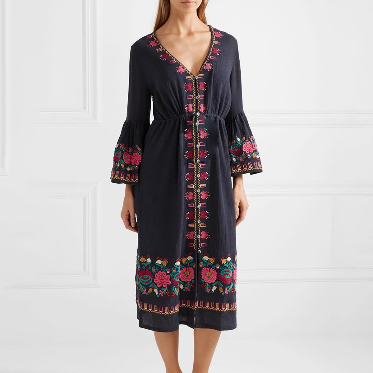 Jastie Floral Embroidered Cotton Midi Dress Elastic Elastic Waist Casual Women Dresses Boho Hippie Flare Sleeve