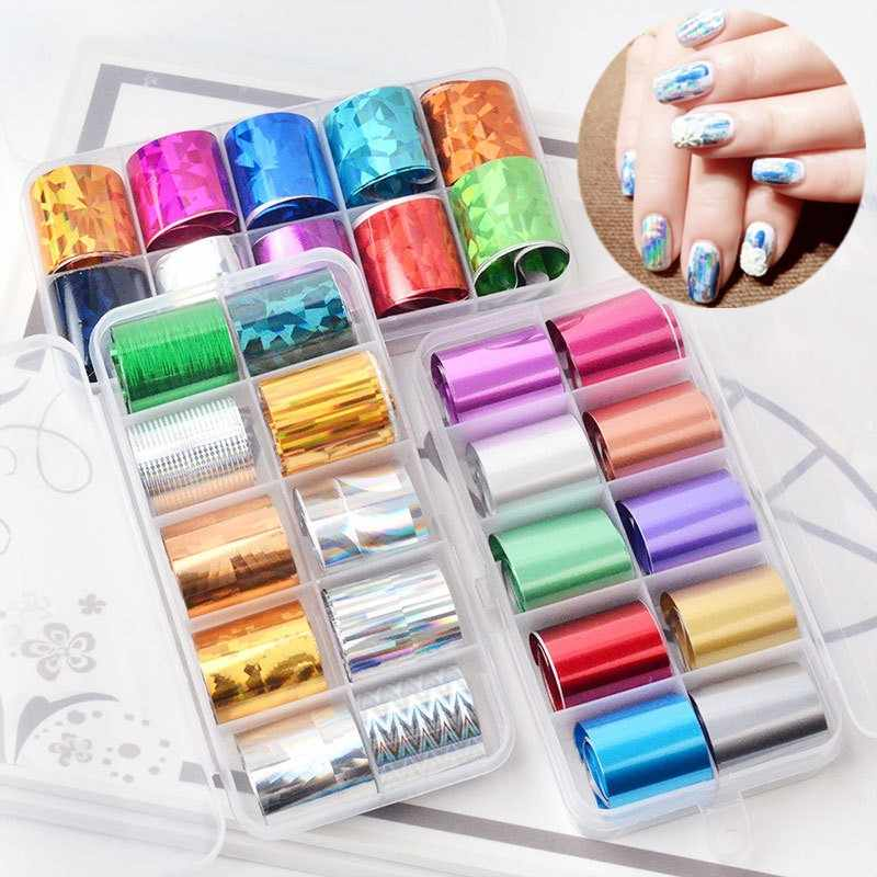 10 Roll Laser Sterrenhemel Constellatie Nail Folies Kleurrijke Nail Art Transfer Stickers Decal Gel Polish Glitter Accessoires Tips