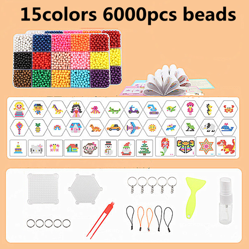 6000pcs Multicolor Magic Puzzle Toys Water Mist Bead Set DIY Craft Animal Handmade Sticky Beads Educational Toys Kids Good Gifts