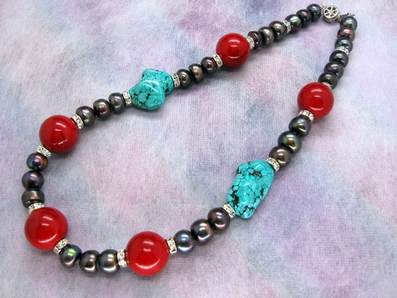 New Arriver Beautiful Freshwater Pearls Red Coral Blue Turquoises Rhinestone Necklace