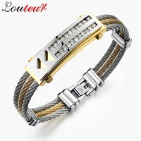 LOULEUR 2017 New Stainless Steel 3 Rows Wire Chain Cuff Bangles Bracelet For Men Jewelry Punk