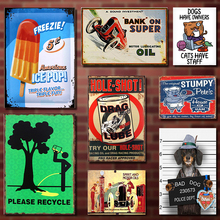 Vintage Tin Sign Bar Pub Home Wall Decor Retro Metal Art Beer Coffee Poster Plate 1001(516) Bad Dog 30x20cm