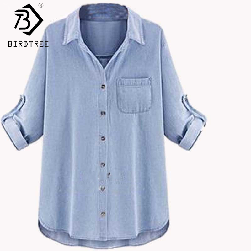 Saiz Plus XXXXXL 5XL-XL Blus Denim Perempuan 2019 Jeans Blusa Feminin High Street Style Pocket Jean Shirt Vetement Femme T64601R