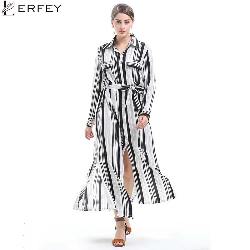 8fe981c3cbb0e60 LERFEY Для женщин осенние платья Полосатое платье в пол с поясом; короткие  платья; Повседневное