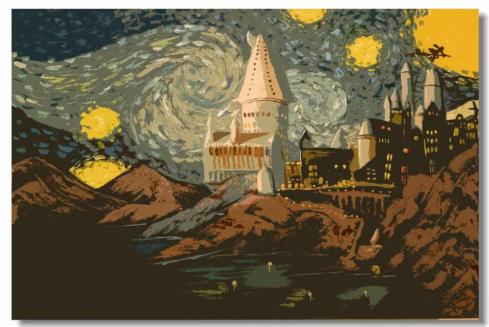 Custom Canvas Wall Painting Hogwarts Starry Night Poster Harry Potter Wallpaper Harry Potter Wall Sticker Home