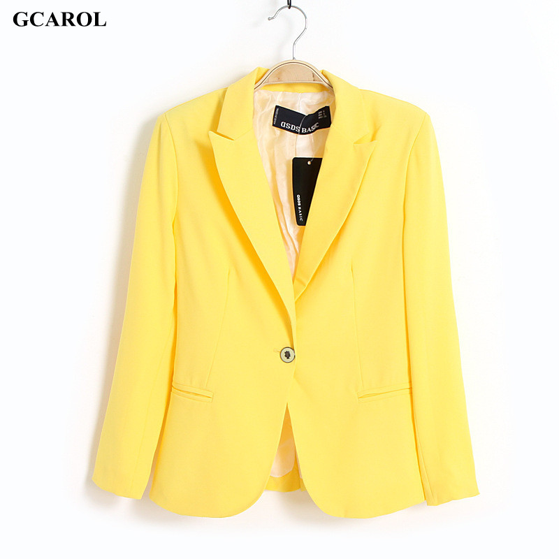 Women OL Candy Blazer Slim Single Button Fasshion Casual Bright Color Coat Summer Spring Thin Female Jacket