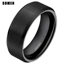 8 мм черные керамические кольца матовый любовь Обручальное Брак Обручальное Обещание Кольца для мужчин мужской Модные украшения Анель подарок Bague