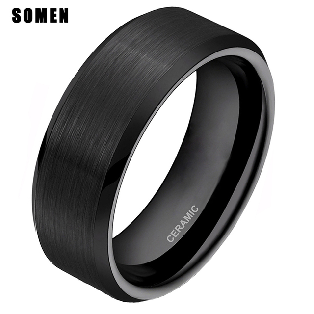 Somen 8mm Ring Men Black Ceramic Ring Brushed Love Wedding Band Marriage Engagement Rings Fashion Men Jewelry Gilft Bague Homme