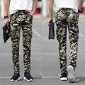 Verão estilo militar calças de camuflagem carga calças 2016 dos homens de moda calça casual pés calças de camuflagem macacão