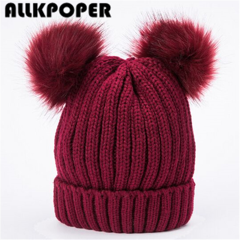 ALLKPOPER Double fur ball cap pom poms winter warm hat for women girl hat knitted beanies cap Crochet Hat brand new thick female 2017 new fur ball cap pom poms keep warm winter hat for women girl s hat knitted beanies letter brand new thick female capm 003
