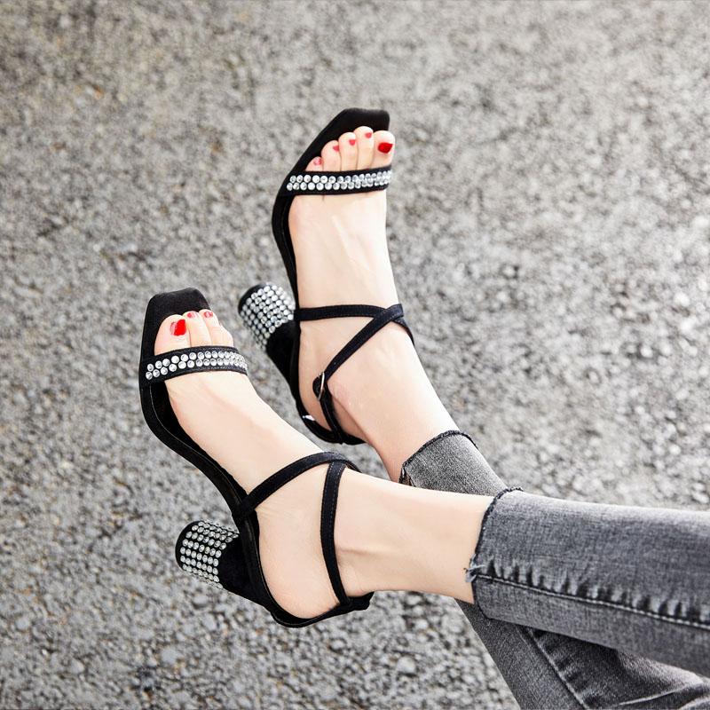 Dames Femmes Zomer Souliers Talon Bloc Talons De Nouveau Hauts Schoenen Mujer Verano Chaussures Zapatos 2019 À 7ZSRg