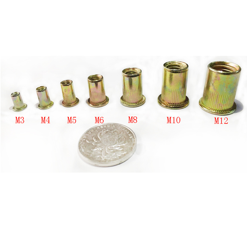 50pcs/lot Carbon steel Rivet Nuts M3 M4 M5 M6 M8 M10 M12 Flat Head Rivet Nuts Set Nuts Insert Reveting Multi Size Collocation