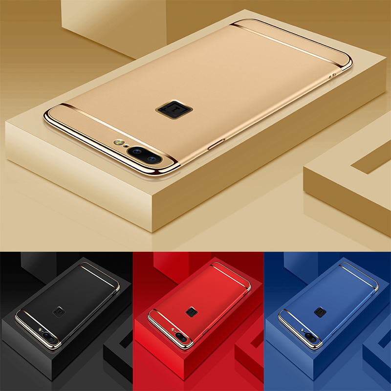 Luxury Rose Gold Removable 3 in 1 Hard Plastic Case For OnePlus 5 case cover for One Plus Five PC Plating Matte Cover