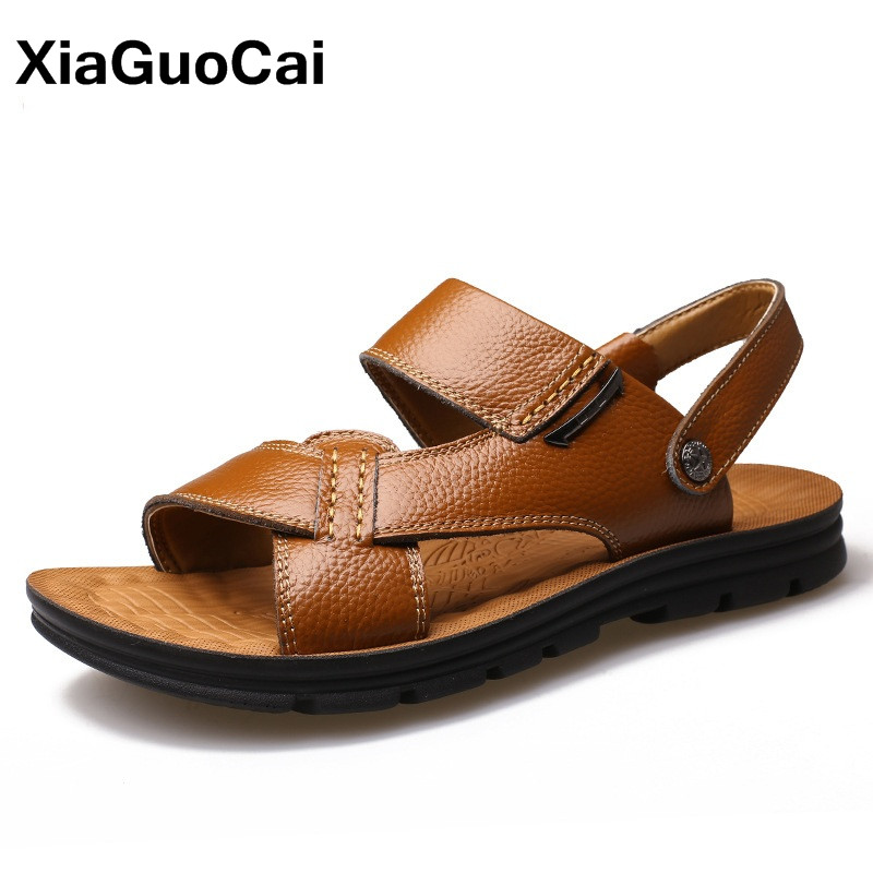 XiaGuoCai 2017 Summer Newest Men Sandals Fashion Genuine Leather Male Beach Shoes Flat Leisure Slippers Slides Mules For Men
