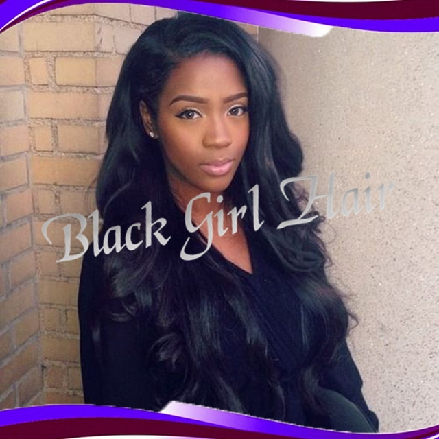 Fashion Black Color Long Hair Wig Side Part Body Wavy Synthetic Lace
