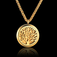 Stainless Steel Tree of Life Pendant Collar Necklace Jewelry for Men/Women Gold Color Rope Chain Magnet Locket Necklace Collier