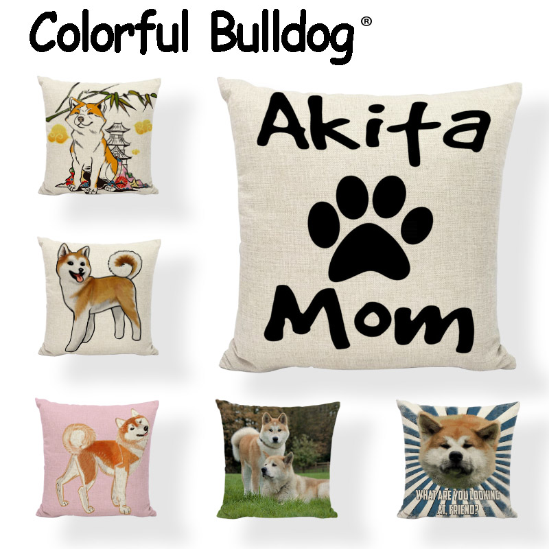Painted Akita Cushion Covers Cartoon Cute Dogs Printed Cotton Linen Throw Pillow Cases Home Decor Gaming Chair Gifts Pillowcases
