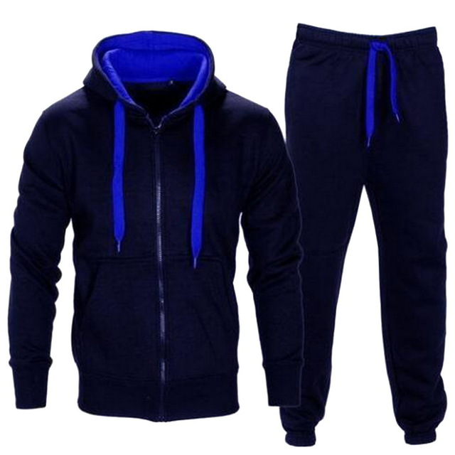 Hot Sale Brand Autumn Men's Tracksuits 2 Piece Set Zipper Hood Jacket Sweat Pant Sportsmen Casual Jumper Sweatshirt Hoodies Suit