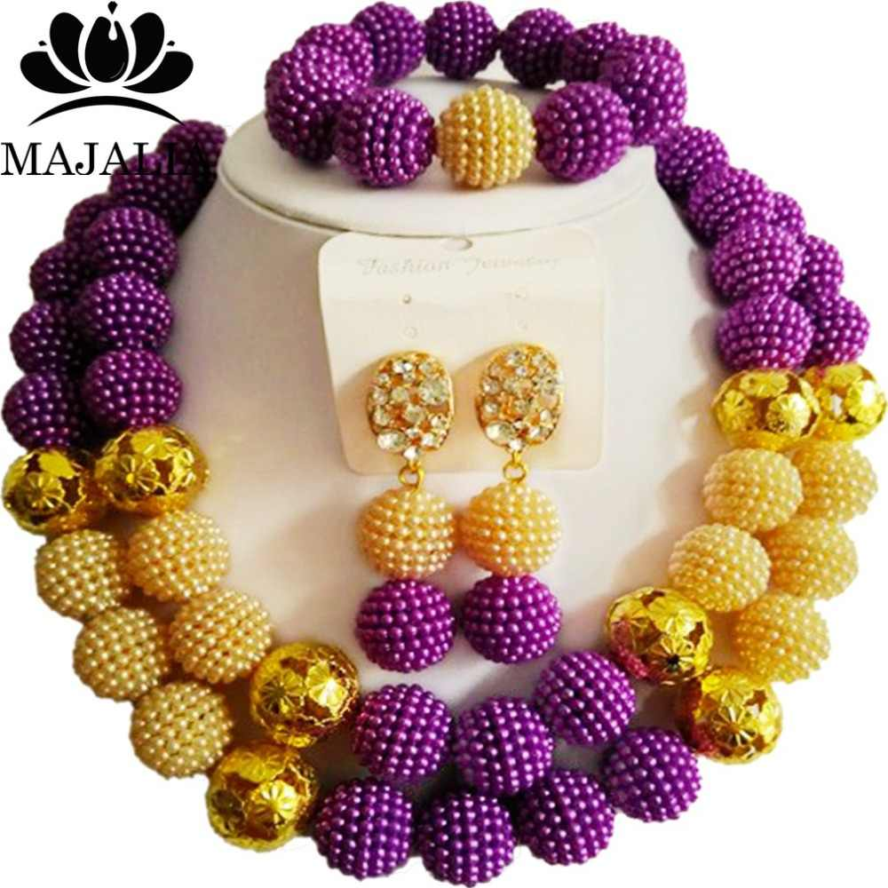 Majalia Fashion Purple and Beige Lady Nigerian Wedding African Jewelry Set Plastic Beads Bride Jewelry Sets Free Shipping 2QW001